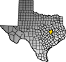 Map showing Robertson County location within the state of Texas